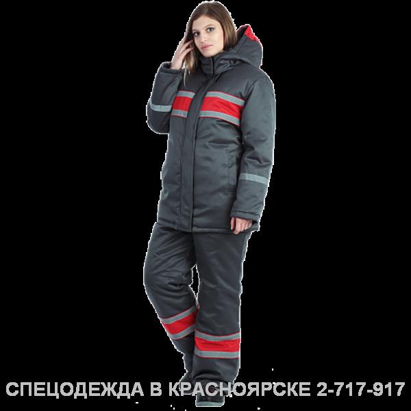 "Костюм ""Ангара"" ут.жен.куртка/полуком серый–красный"