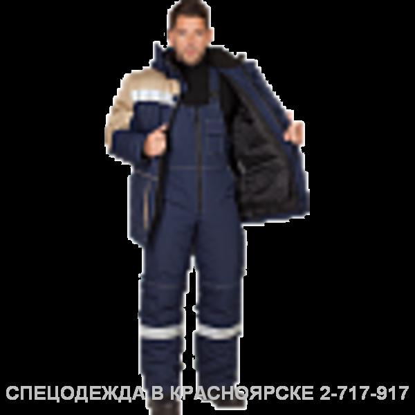 """Костюм """"Енисей"""" ут.куртка/полукоб. синий–бежевый СОП"""
