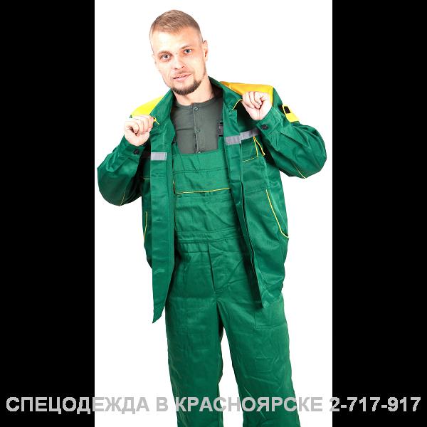 """Костюм ""Енисей"" (кур корот, полукомб) зеленый с желтым"