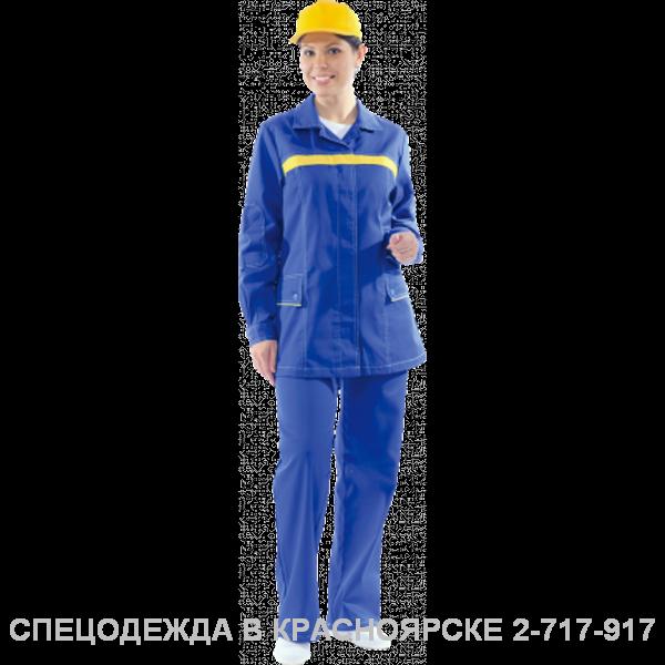"""Костюм """"Премьера Люкс"""" жен.кур/бр василёк с жёлтой отделкой"""